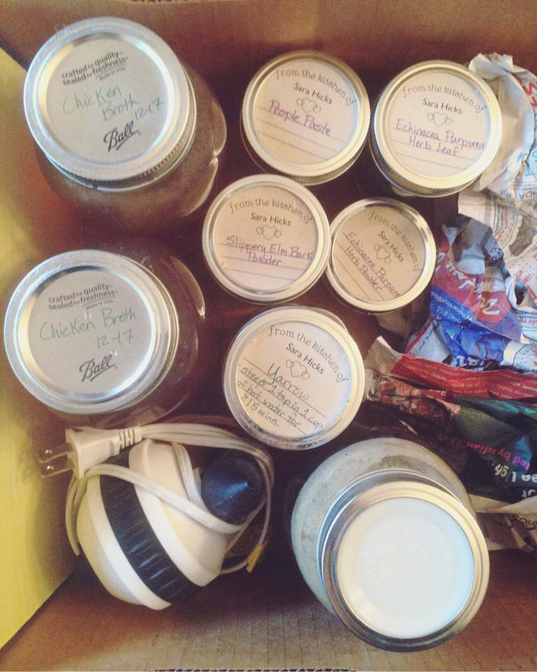 homeopathic rescue kit for the flu with slippery elm bark powder echinacea purpurea leaf and echinacea purpurea powder and people paste and chicken broth and diffuser and thieves oil and honey and yarrow