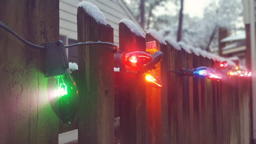 christmas lights snow colorful