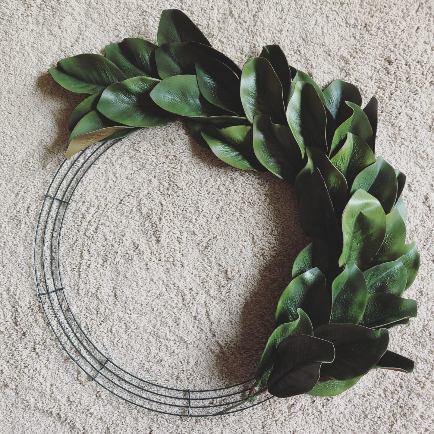 DIY Faux Magnolia Wreath