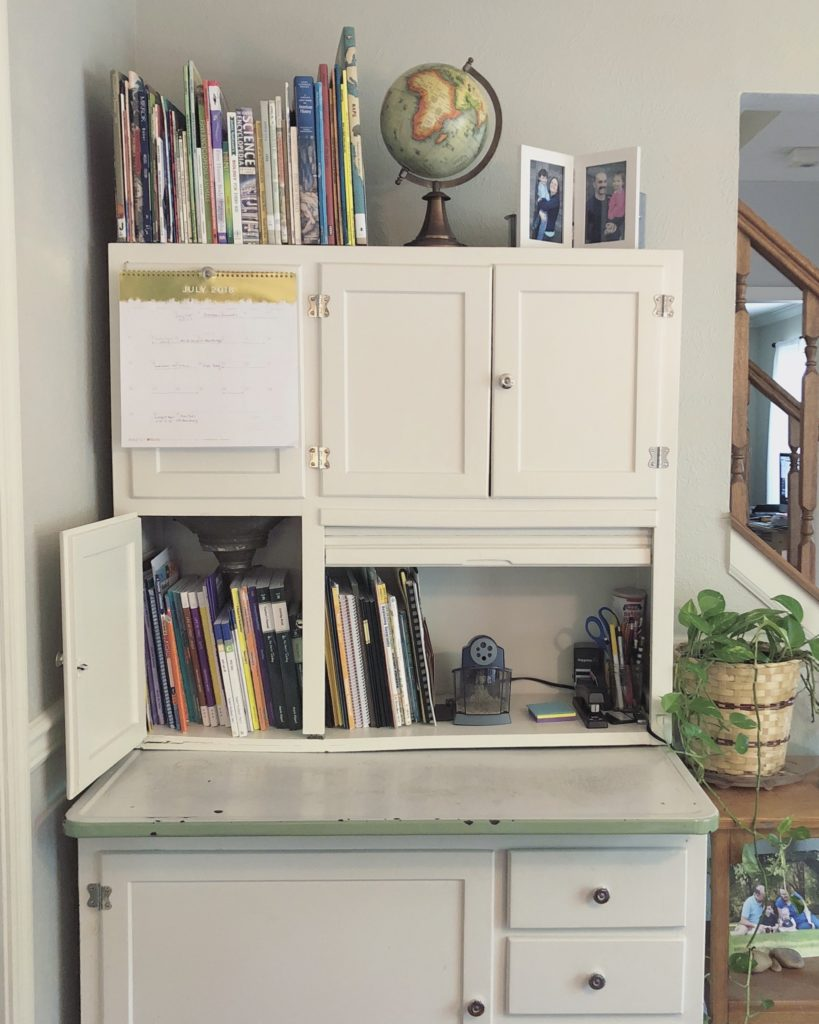 hoosier cabinet, homeschool organization, homeschool storage, curriculum storage