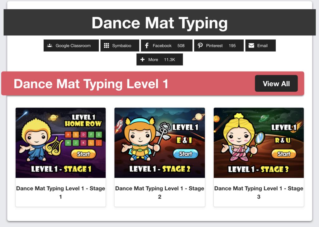 dance mat typing, typing practice